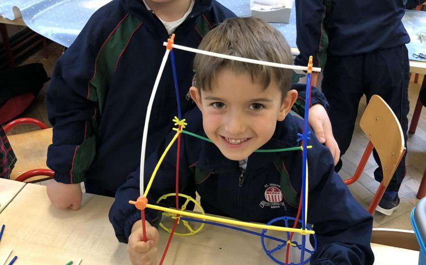 These two boys from Senior Infants designed a car using construction straws