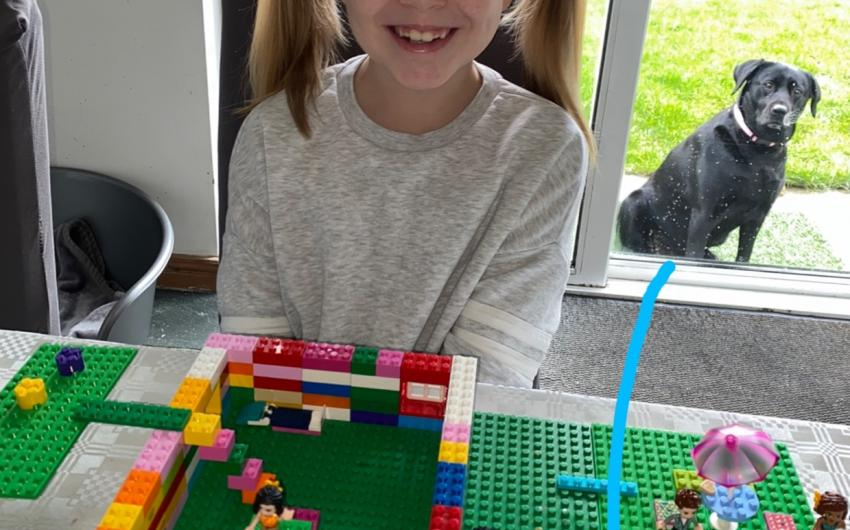 This girl from room 7 was learning about the history of lego and built her own construction