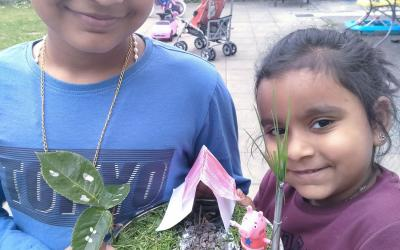 Brother and sister from rooms 12 and 6 created their own miniature garden