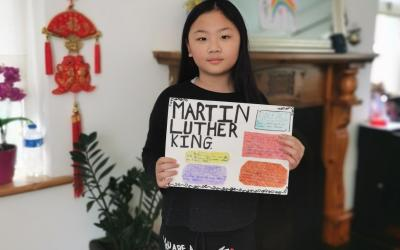 A girl from room 8 did a project on Martin Luther King