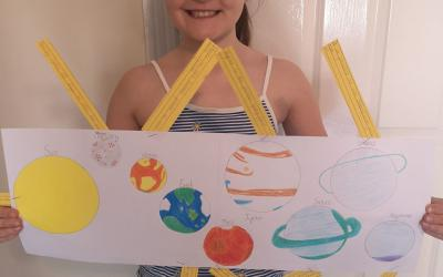 A girl from room 11 did a project on the Solar System