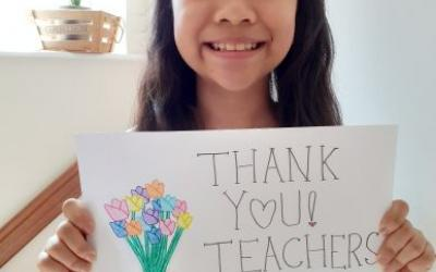 A girl from room 10 has a message for her teachers