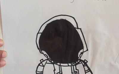 Daniel from room 21 was inspired to draw this astronaut after watching the live launch last week