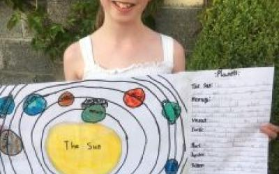 A girl from room 11 did this project on the Solar System