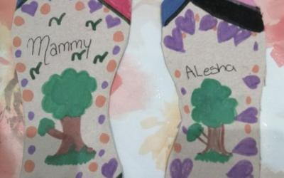 Alesha (room 6) decorated two shoes, responding to 'The Elves and the Shoemaker'