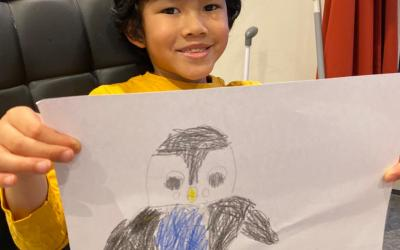 This boy from room 3 drew a penguin