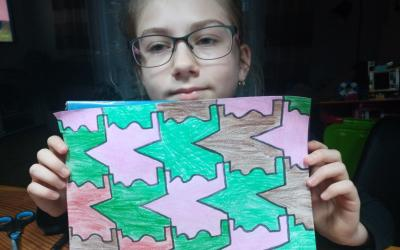Work on tessellation by a girl in room 10