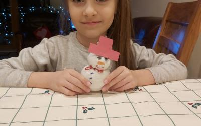 A Snowman by a girl in room 7