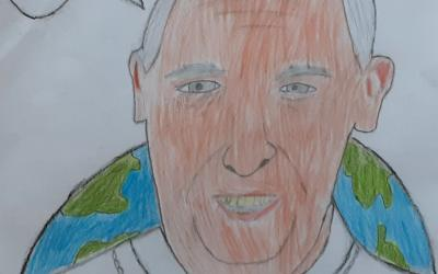 Artwork by James in room 21 - Pope Francis reminds us to care for the earth