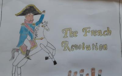 Artwork based on the French Revolution by James in room 21