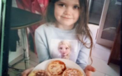 A girl from room 3 on Pancake Tuesday