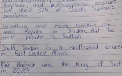 Ciara from room 29 has been learning about South Sudan