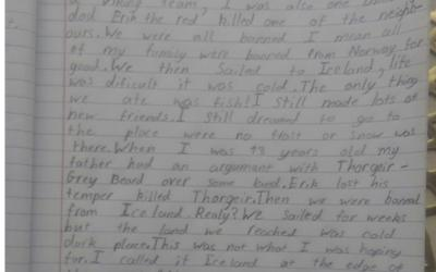Kristian from room 30 wrote about the life of Leif Erikson