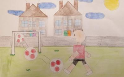 Mikolaj from room 30 drew this picture of a footballer using 2D shapes