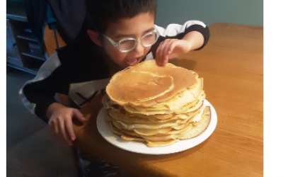 This boy from room 5 enjoyed a lot of pancakes