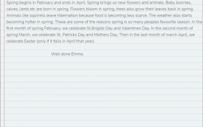 Emma from room 24 writes about Springtime...