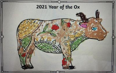 Ella from room 12 marks the Chinese New Year (Year of the Ox) with this picture