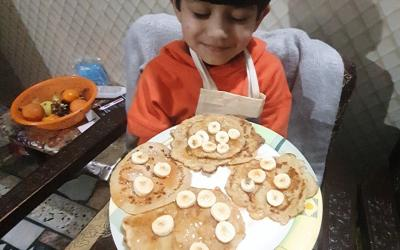 This boy from room 6 was busy making pancakes
